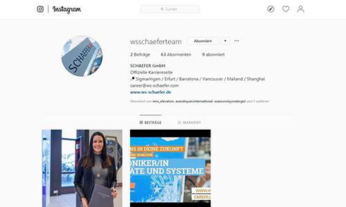 SCHAEFER Karriereseite auf Instagram