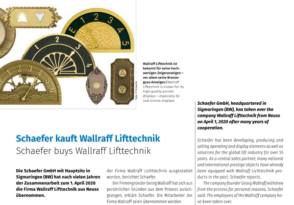 SCHAEFER kauft Wallraff Lifttechnik